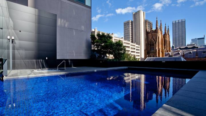 Sydney skyline - outdoor commercial swimming pool