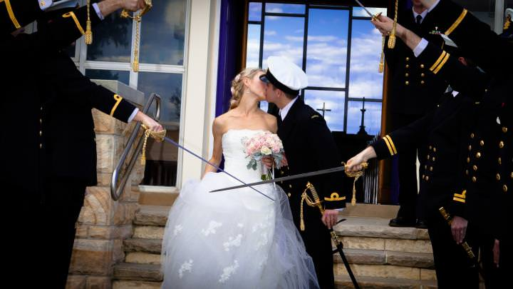 HMAS Penguin - Military Wedding - first kiss