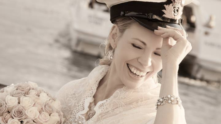 Sydney Harbour - Smiling bride on a boat